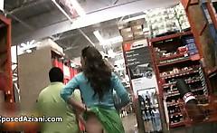 Sexy brunette babe goes crazy flashing