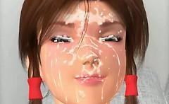 3D Teen Gets a Huge Facial!
