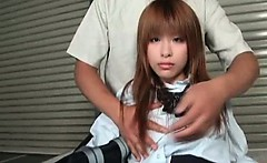 Japanese cutie in school outfit gets tits vibed
