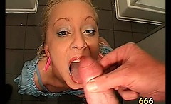 Horny dirty blonde slut gets her mouth