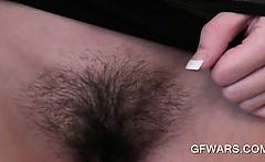 POV nasty ex-girlfriend flashing skinny hairy pussy upskirt