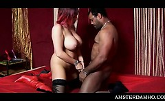Busty Amsterdam hoe showing her great blowjob skills