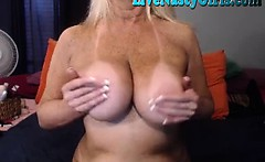 Big Boobed Granny Stretches Her Pussy 1