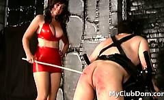 femdom babe spanking strapped down guy