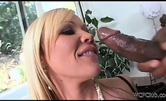 Sweet blonde sucking on a big dick like a lollipop