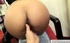 Pretty amateur babe anal fucks POV in porn store