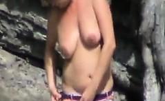 fat mature woman at the beach