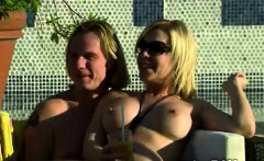 Naughty couples have a nudist party in the jacuzzi