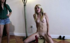 Sexy blonde haze teen rides a few dildos