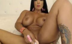 busty latina rides her dildo till orgasm