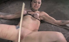 Breast bondage sub getting caned