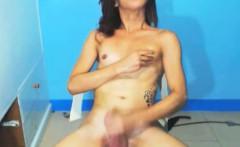 TS Asian Masturbating and Cum