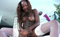 Bigtitted black trans in stockings masturbating her big dick