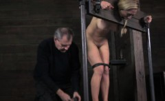 Bounded female slave gets fingered fast by her master