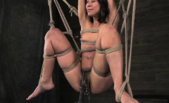 suspended tied up vivi marie hairy clit clamped