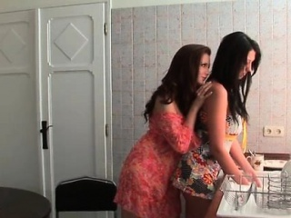 Hot brunette gets all horny touching