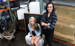 Horny lesbian couple share a dick in a pawnshop to earn cash