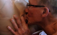 Licked and masturbated young pussy fucked by 2 old man