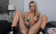 Busty Blonde Enjoys Sucking her Toy