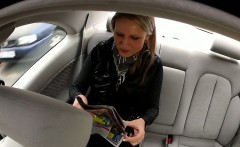 Fake taxi driver fucks blonde outdoor from behind