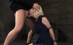 Restrained sub in deepthroating blowbang