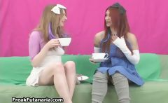 Two naughty girls having an erotic cup