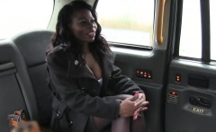 Busty British ebony interracial fucked in fake taxi