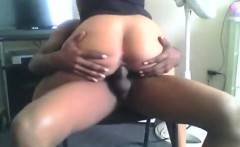 black couple fucks on a chair