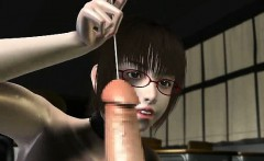Sexy 3D anime girl sucking a large cock