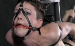 Gagged tt sub hogtied and pussy toyed