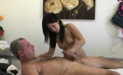 Petite asian masseuse riding clients dick
