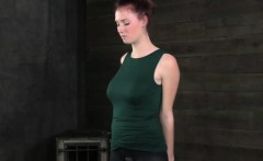 BDSM sub has nipples exposed and caned