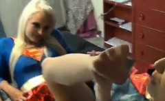 Superwoman Gets Her Feet Worshipped