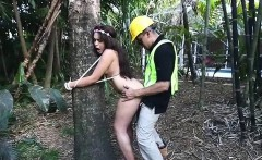 Naughty brunette teen Jaye Austin banged in the woods
