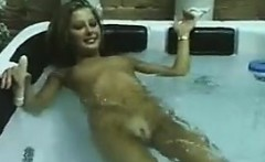 cute lesbians playing in the hot tub