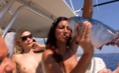 Hot babes surfing and deep sea fishing while all naked