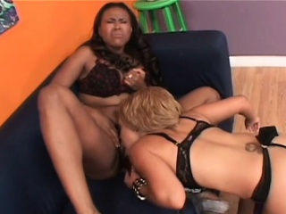 Ebony lesbo caught masturbating gets dildoed