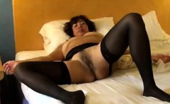Mature Slut Wearing Black Stockings