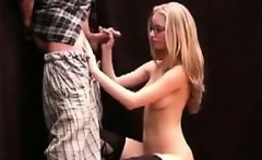 Nerdy Blonde chick Giving A Handjob