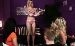 Sexy strip show from British CFNM babes for amateur