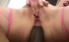 Sexy blonde takes a black dick