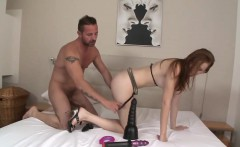 Ass toyed redhead railed