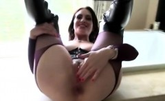 Gorgeous brunette MILF plays with her nasty prolapse