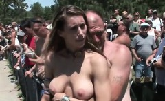 Amateurs spreading pussy in public party crowd