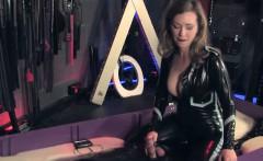 BDSM dominatrix allows pathetic sub to cum