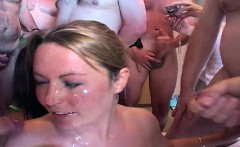 Four sluts at a homemade cumshot blowbang party