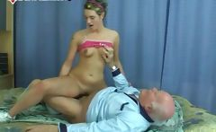 Horny grandpa gets to fuck a cute