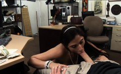 Brunette ho pawns her pussy and slammed by nasty pawn guy
