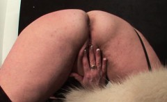 Chesty mature gets fingered and rides dildo