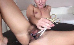 Brutal pussy hole with fluent toy inside
